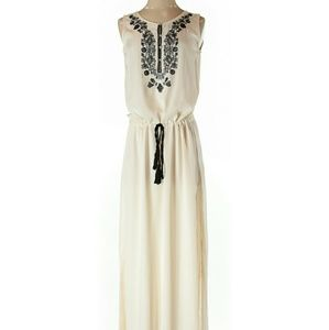 Zara Beige Embroidered floral Maxi dress